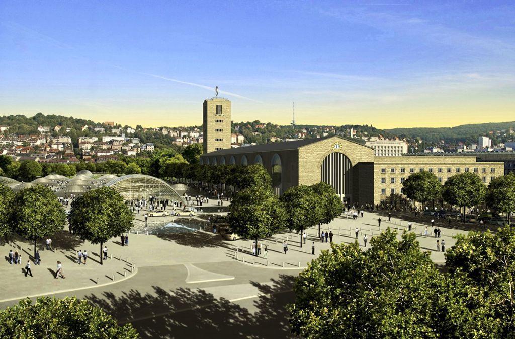Der Manfred-Rommel-Platz – ehemals Straßburger Platz – kann frühestens 2025 eingeweiht werden. Foto: Bahnprojekt Stuttgart-Ulm