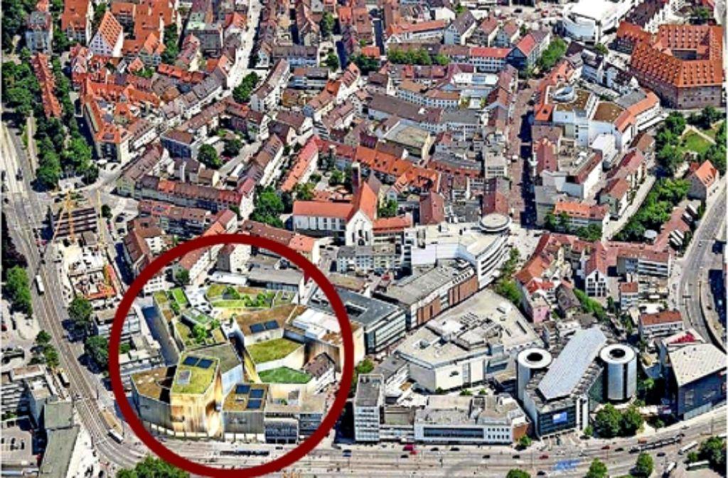 Nur virtuell sind die Sedelhöfe (Kreis) bisher  zu besichtigen. Foto: Stadt UlmMontage: Schwing