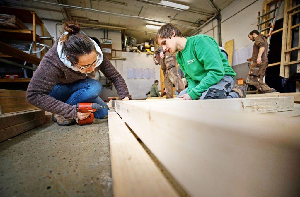 Bis September will Madeleine Krenzlin mit dem Hausbau fertig sein. Foto: Gottfried Stoppel