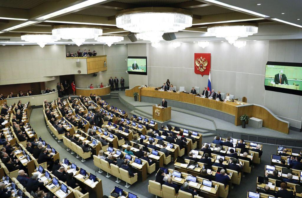 Vor der Abstimmung über eine Verfassungsänderung  hielt Wladimir Putin im russischen Parlament eine Rede. Foto: dpa/Pavel Golovkin