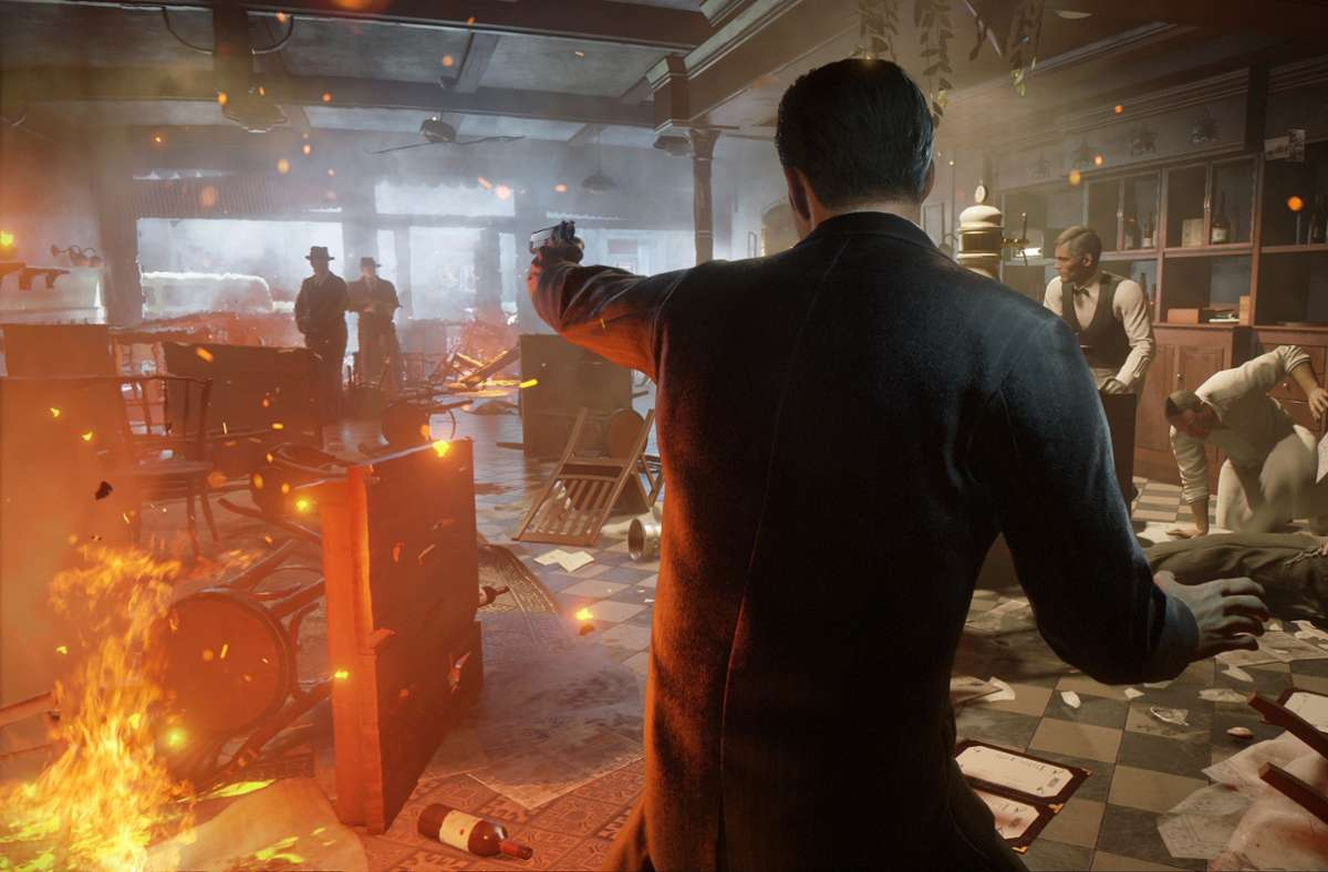 Feuergefecht  im Pizza-Restaurant: Tommy Angelo verteidigt sich gegen befeindete Mafiosi. Foto: 2k Entertainment