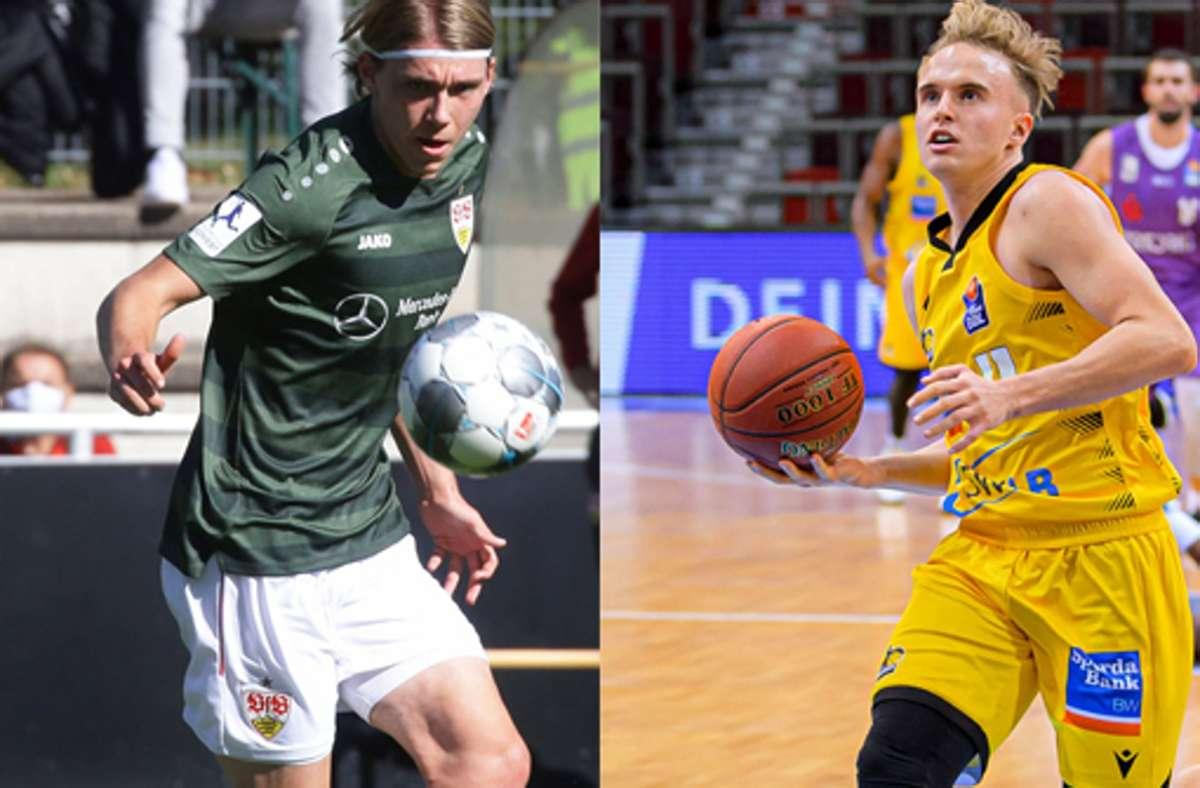 Zwei Freunde, zwei Sportarten: Luca Mack (VfB Stuttgart) und Lukas Herzog (MHP Riesen Ludwigsburg). Foto: Baumann, Imago/Marco Wolf