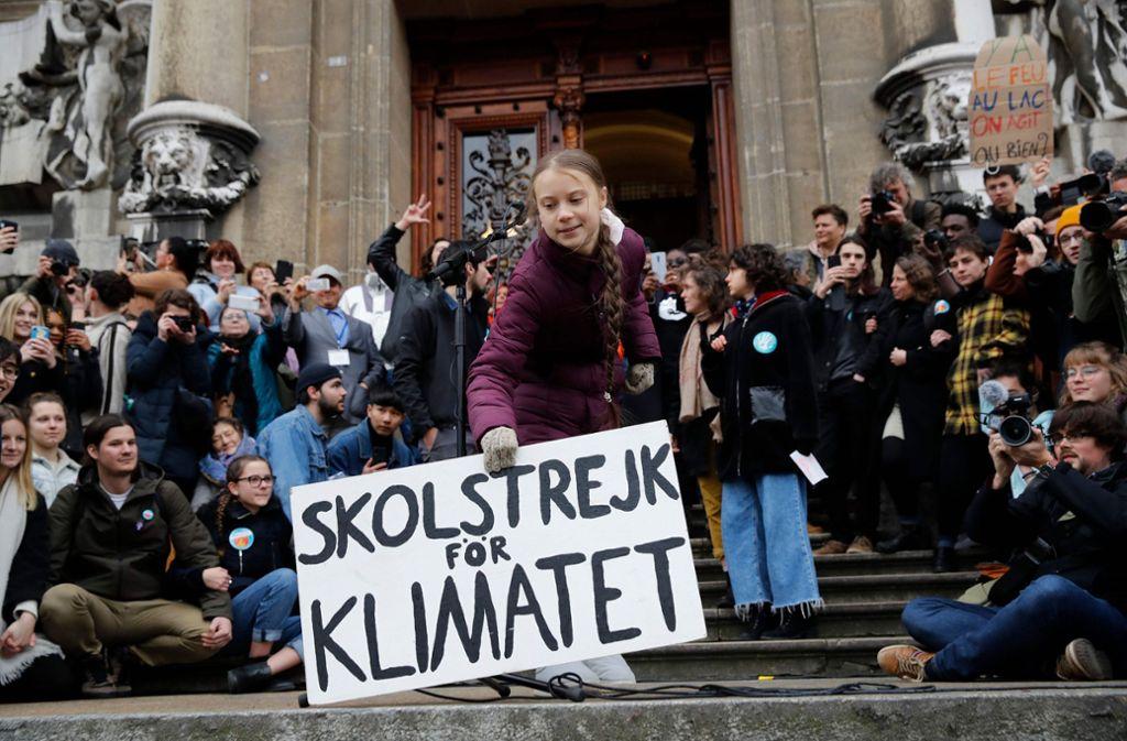 Greta Thunberg beim Protest in Lausanne. Foto: AFP/STEFAN WERMUTH