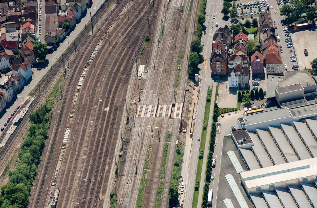 Die S-21-Baustelle in Untertürkheim aus der Vogelperspektive Foto: Bahn