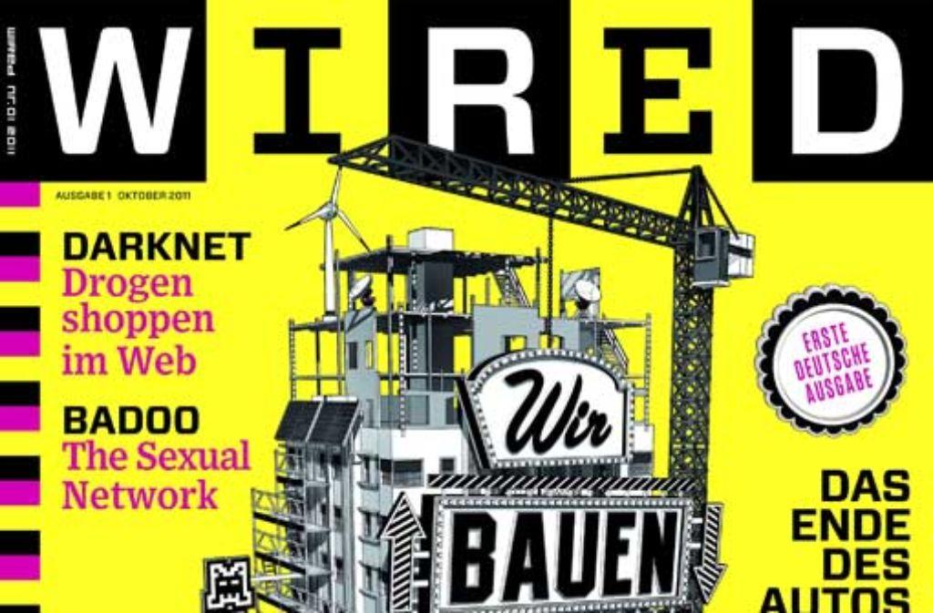 In knalligem gelb leuchtet das Cover der ersten Wired im Kiosk. Foto: Screenshot StZ