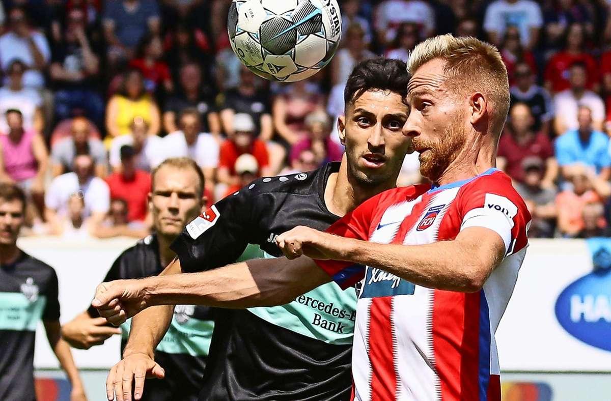 Marc Schnatterer (re.) will mit dem 1. FC Heidenheim in die Bundesliga. Foto: Baumann