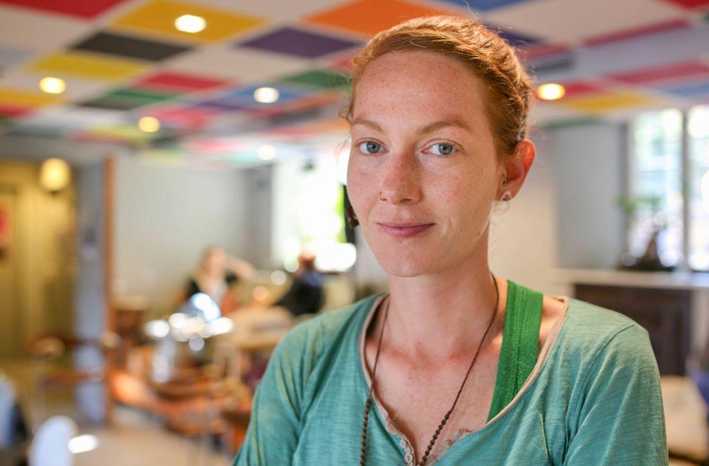 """Yvonne Sauter, 33, hat die Stuttgarter Ortsgruppe von """"Extinction Rebellion"""" gegründet. Foto: S. Warrlich"""