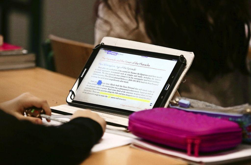 Ein Kind lernt in der Schule mit einem Tablet. Foto: dpa/Ina Fassbender