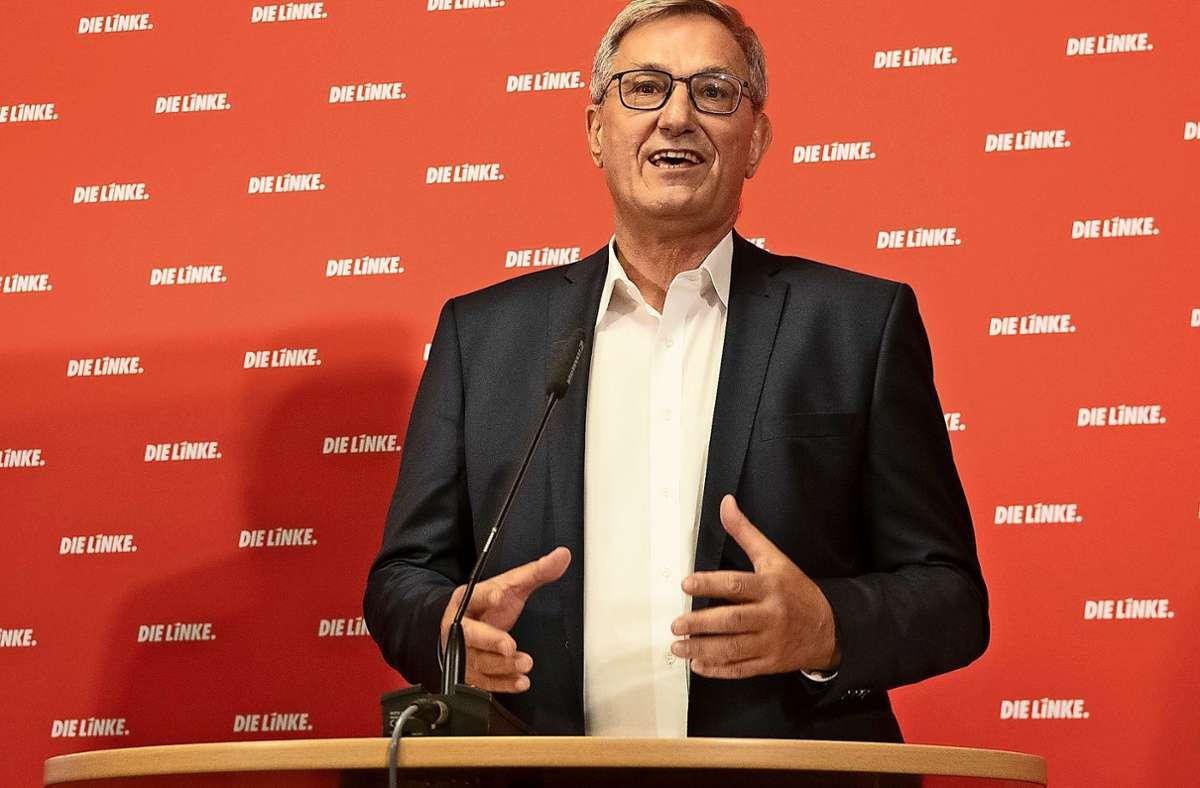 Der Staat solle Arbeitsplätze schützen, nicht die Profite der Unternehmen, sagt der Linkspartei-Chef Bernd Riexinger. Foto: dpa/Paul Zinken