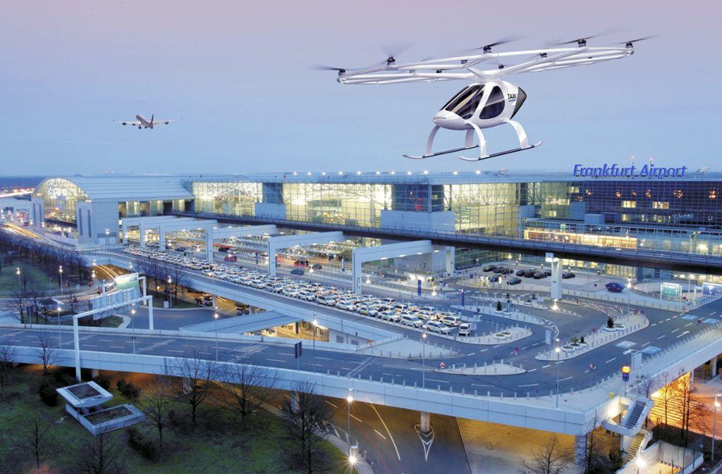 Solche Flugtaxis könnten in einigen Jahren am Flughafen in Frankfurt umherschwirren. Foto: Andreas Meinhardt/Fraport