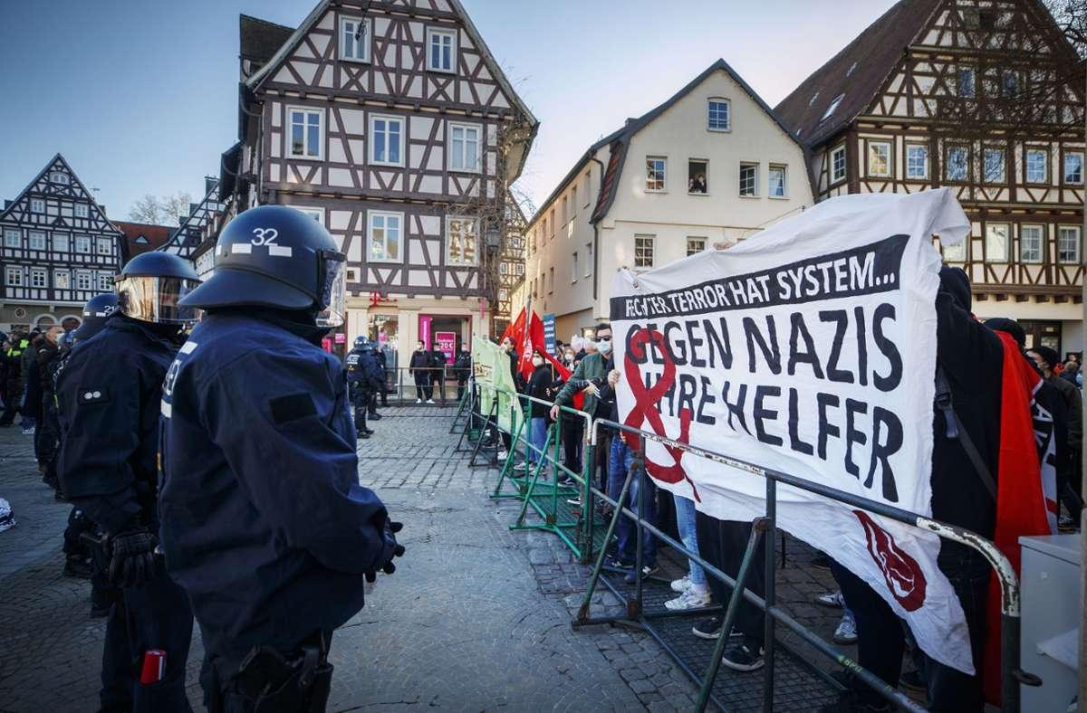 Nicht nur gegen die Gegendemonstranten der AfD-Kundgebung in Schorndorf hatte der örtliche Stadtrat Lars Haise verbal kräftig ausgeteilt. Foto: Gottfried Stoppel