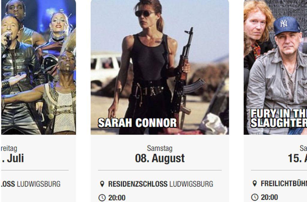 Mit Maschinengewehr statt Mikrofon – die falsche Sarah Connor. Foto: Screenshot von stuttgigs.de