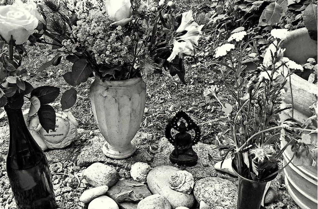 Julians Urnengrab auf dem  Tübinger Bergfriedhof. Die Steine und Muscheln hat seine Familie aus Kalifornien mitgebracht. Foto: privat