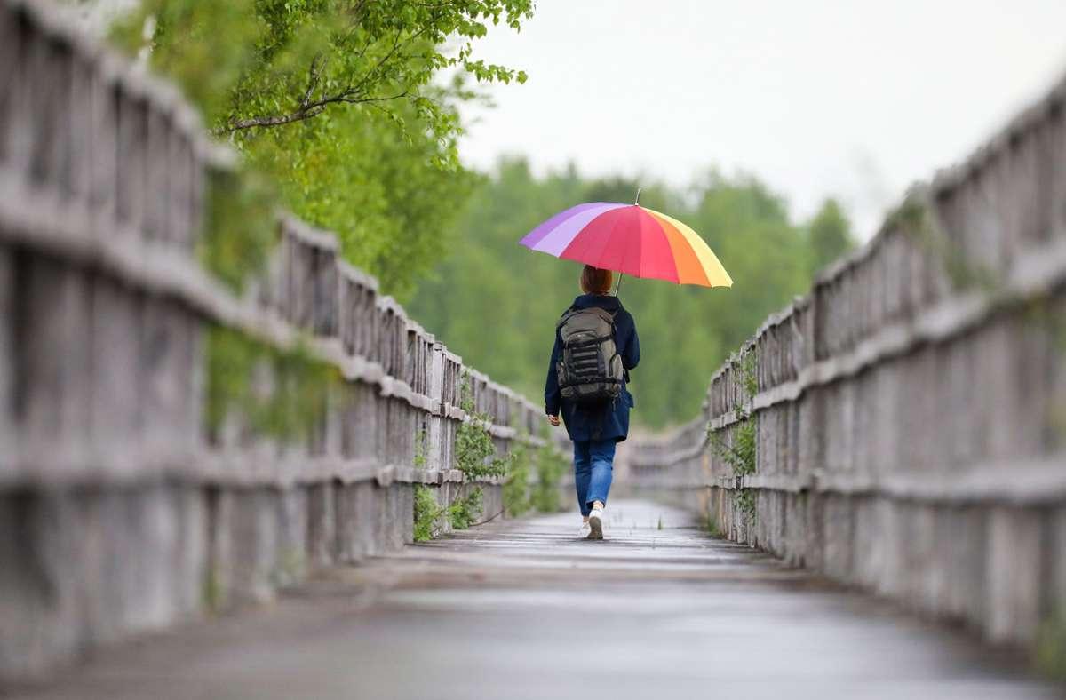 Der Regenschirm ist dieser Tage der wichtigste Begleiter. Foto: dpa/Thomas Warnack