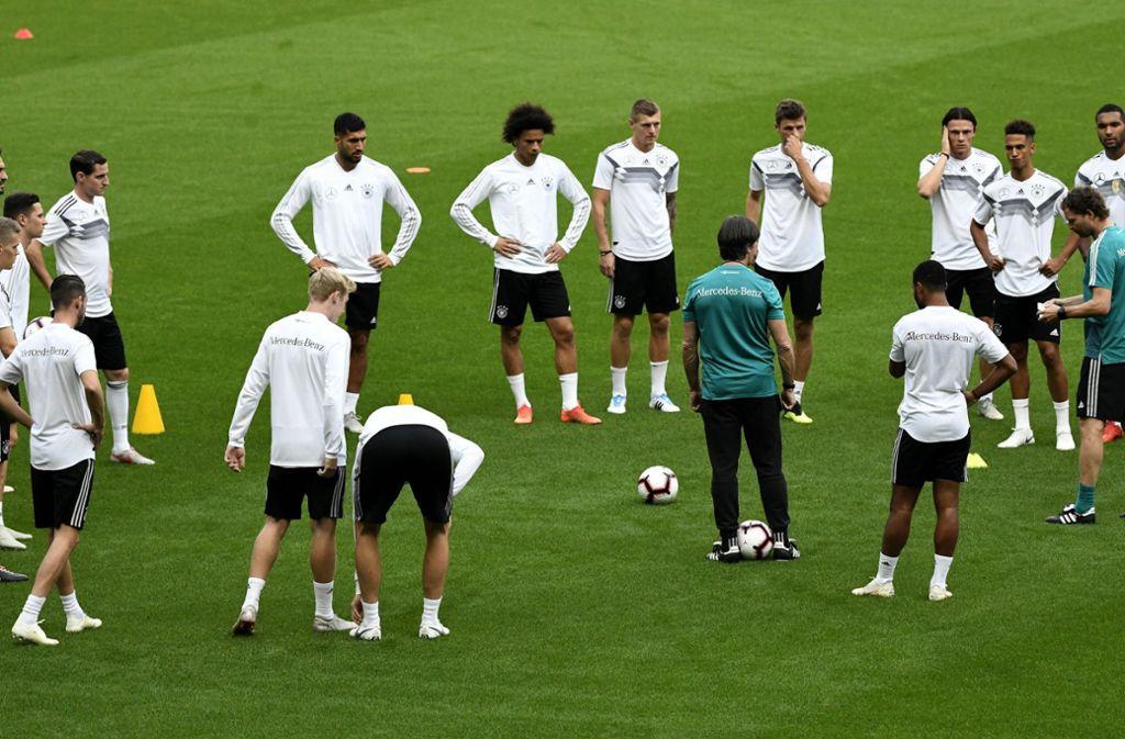 Bundestrainer Joachim Löw im Kreis der Nationalspieler – einige von ihnen dürfen den SV Lindenau in Leipzig besuchen. Foto: dpa
