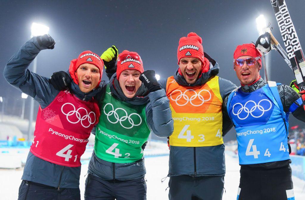 Bronze für die deutsche Biathlon-Staffel bei Olympia 2018: Erik Lesser, Benedikt Doll, Simon Schempp und Arnd Peiffer (v.l.n.r.) Foto: dpa