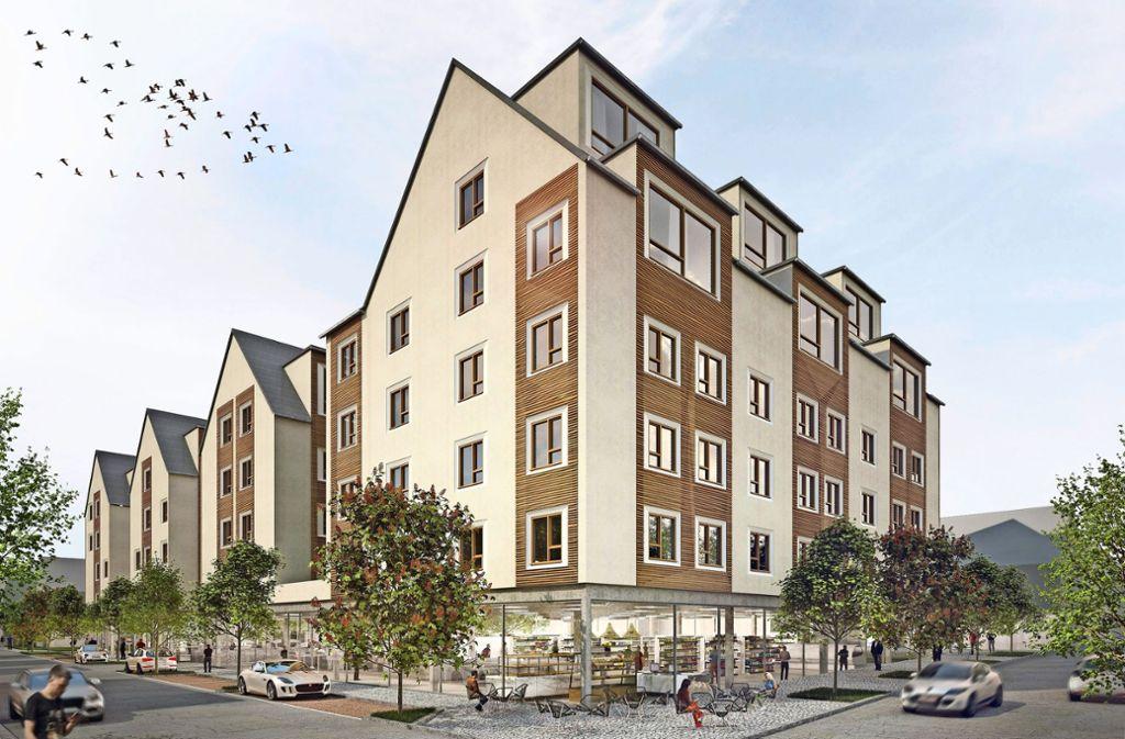 Das Konzept mit dem Eckgrundstück sieht Rewe und dm als Mieter für das Areal an Stuttgarter Straße und Kronenstraße vor. Foto: Architekturbüro Ludmann, IGC Wohnbau