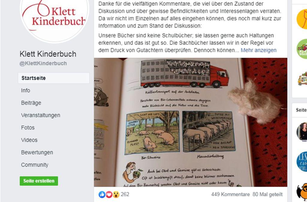 """Hundertfach kommentiert, dutzendfach geteilt: die Diskussion um """"Alles lecker"""" Foto: Facebook/@Klettkinderbuch"""
