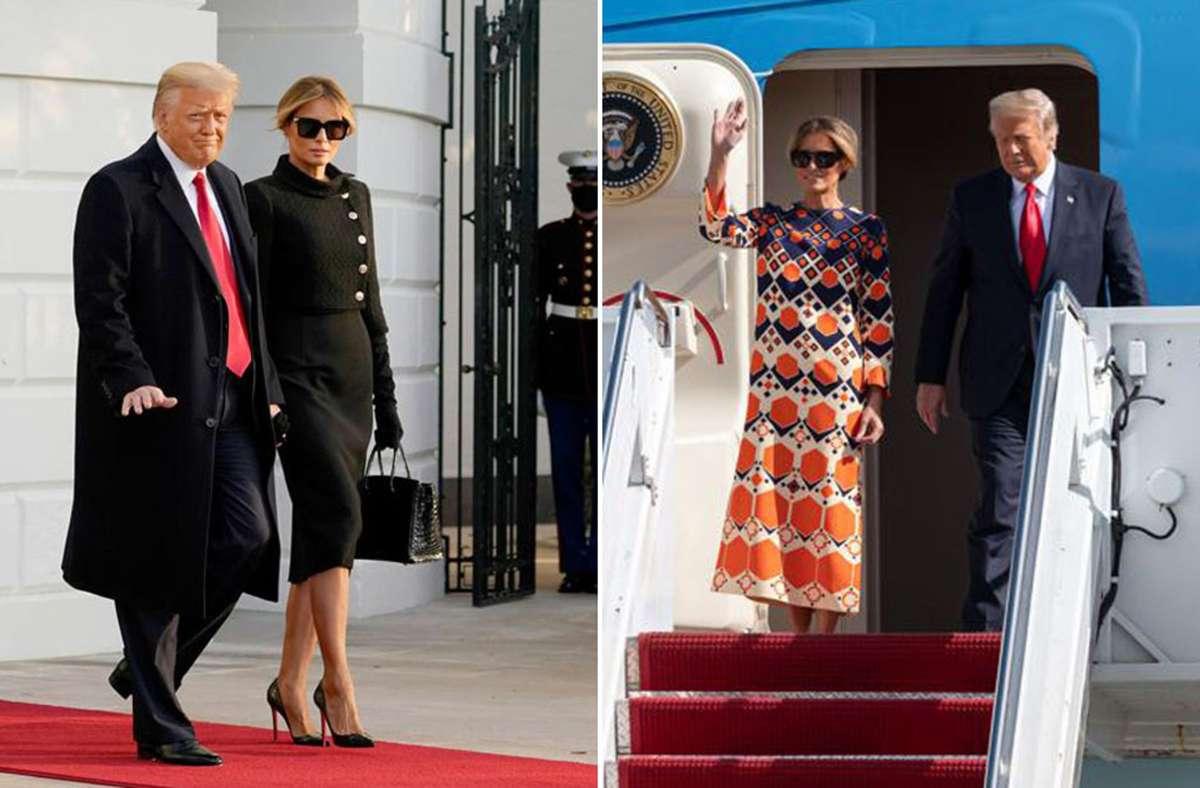 """Melania Trump verlässt das Weiße Haus in Schwarz – und entsteigt """"Air Force One"""" in Florida deutlich farbenfroher. Foto: dpa/AFP"""