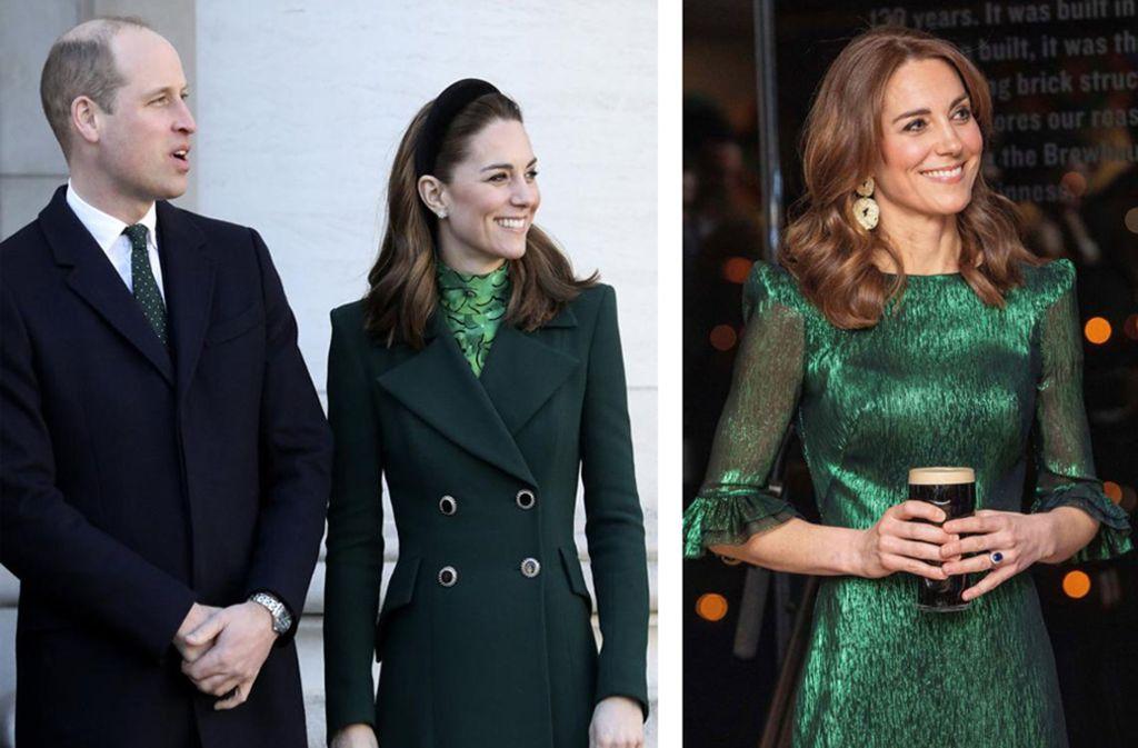 Es grünt so grün: Prinz William und Herzogin Kate kleiden sich in Irland in den Landesfarben. Foto: AP/Morrison/Faith