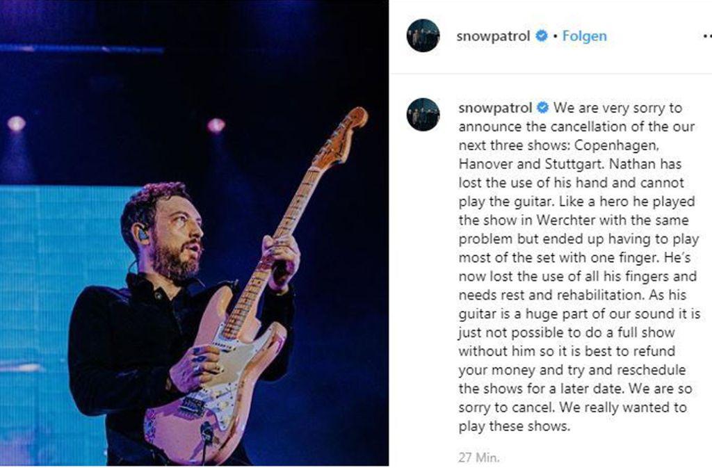 Nathan Connolly von Snow Patrol kann derzeit keine Gitarre spielen. Foto: instagram/snowpatrol