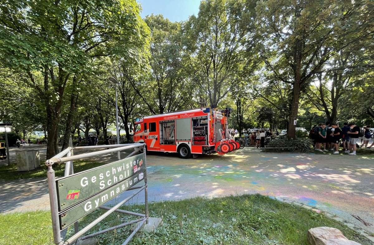 Die Feuerwehr rückte am Dienstagnachmittag zu einem Einsatz am Geschwister-Scholl-Gymnasium aus. Foto: 7aktuell.de/Alex Hald
