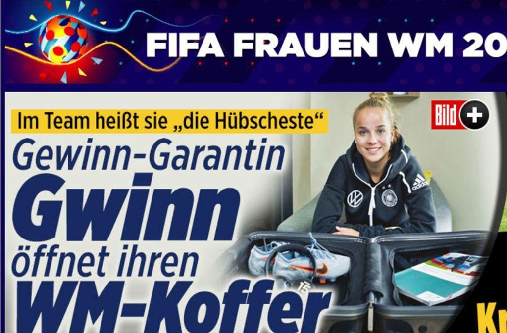 """Giulia Gwinn schoss das  1:0 gegen China, vor allem ist sie für die """"Bild""""-Zeitung aber """"die Hübscheste"""". Foto: bild.de"""