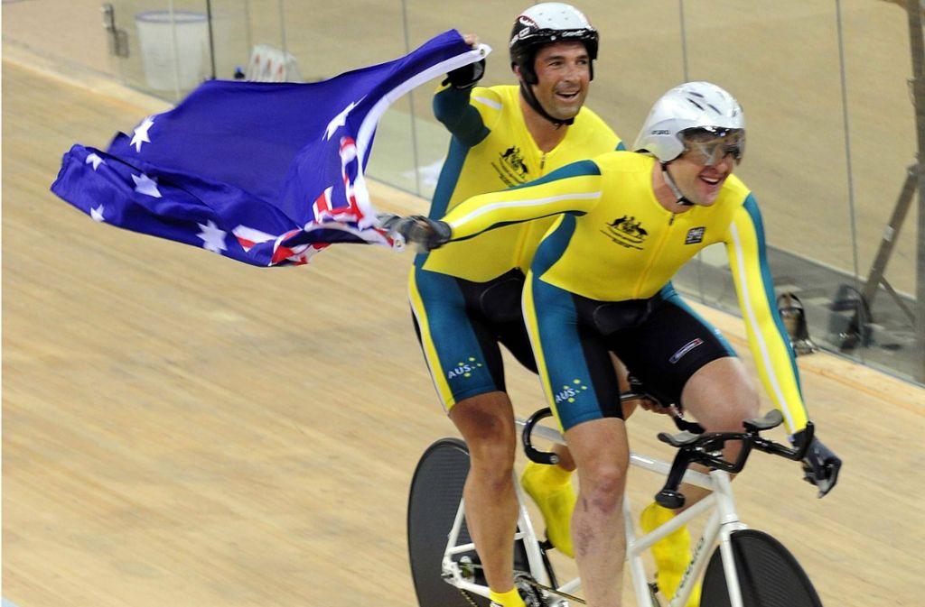 Kieran Modra (hinten) und Tyson Lawrence bei ihrem Sieg über die 4000 Meter Verfolgung bei den Paralympics 2008. Foto: imago sportfotodienst