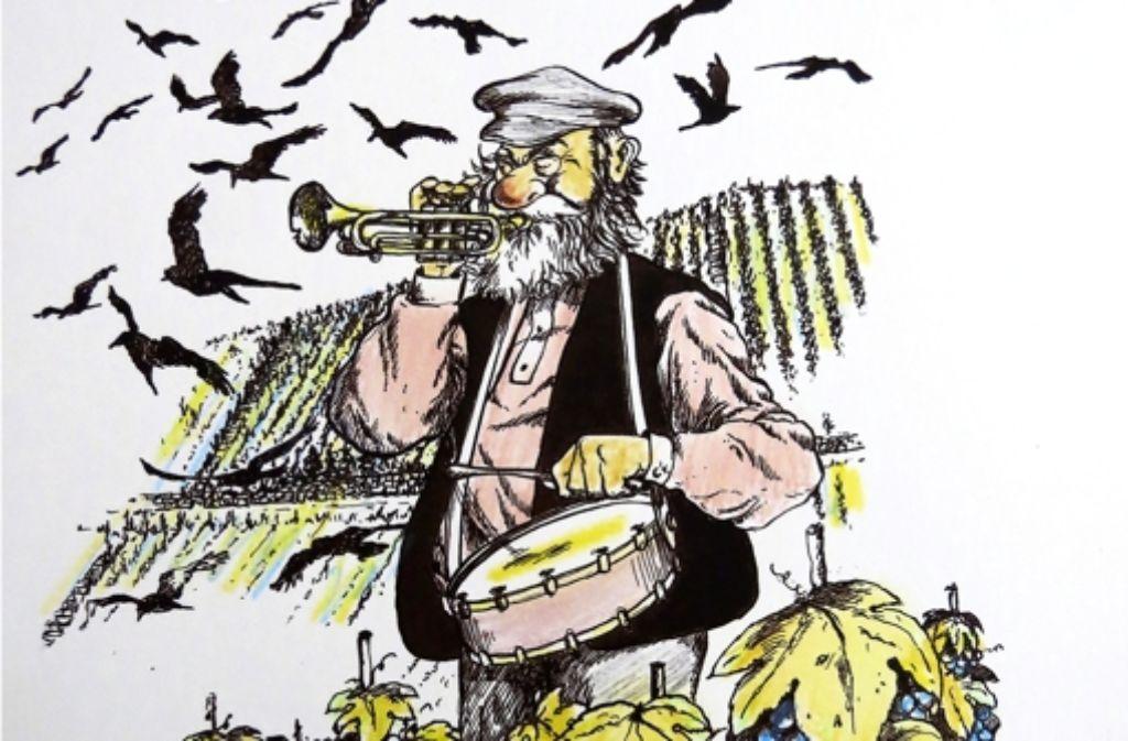 Mit der Jazztrompete in der Hand inmitten seiner geliebten Trollingerreben, so behalten die Heslacher Traugott Armbrüstle in Erinnerung. Foto: Heike Armbruster