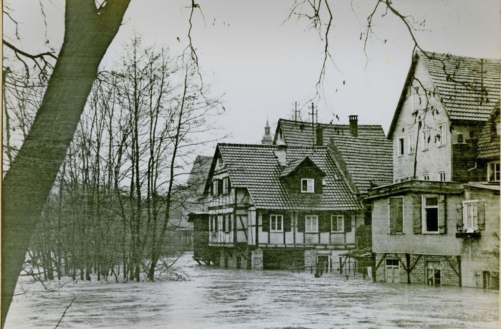 Land unter auf der Waiblinger Erleninsel  im Jahr 1956. Foto: Stadtarchiv Waiblingen
