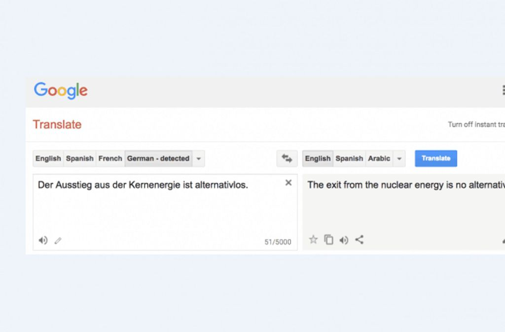 Ein drastisches Beispiel wie der Google Translator eine Aussage ins Gegenteil verkehrt. Foto: IdeenwerkBW