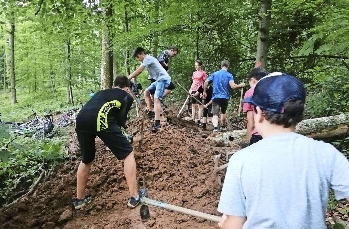 Zwölf Jugendliche und ein Erwachsener beteiligen sich am Rückbau der Moutainbike-Anlagen bei Schafhausen. Foto: /Stadt Weil der Stadt
