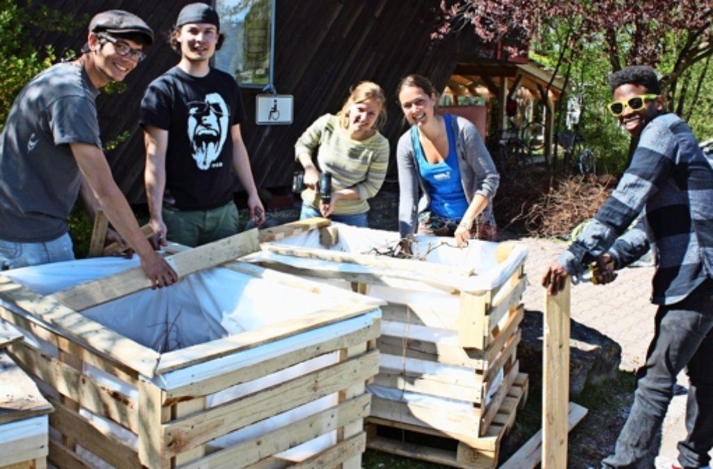 Taalke Wolf (Zweite von rechts) und ihre Kommilitonen bauen Hochbeete. Foto: Rebecca Stahlberg