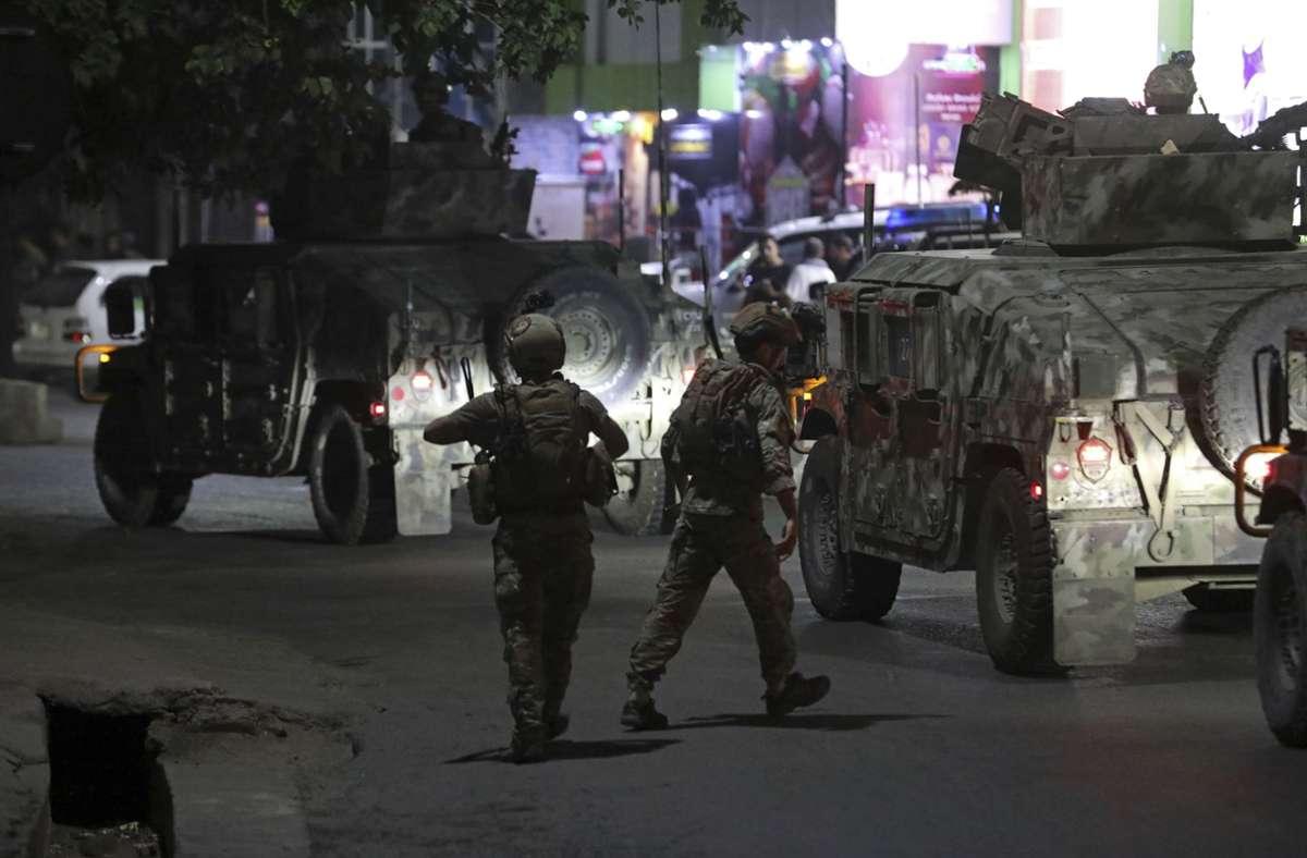 Sicherheitskräfte in Kabul. Foto: dpa/Rahmat Gul
