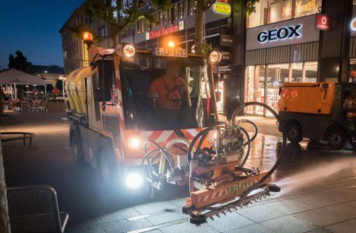 Reinigung der Straßen in Stuttgarter Innenstadt   muss warten
