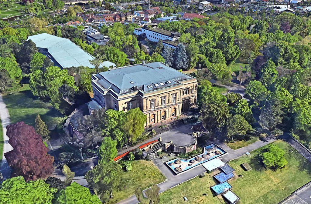 Die Villa Berg und Teile des umliegenden Parks werden bald zur Baustelle. Die alten Fernsehstudios rechts oberhalb der Villa werden 2020 abgerissen. Foto: Google Earth/Landsat Copernicus