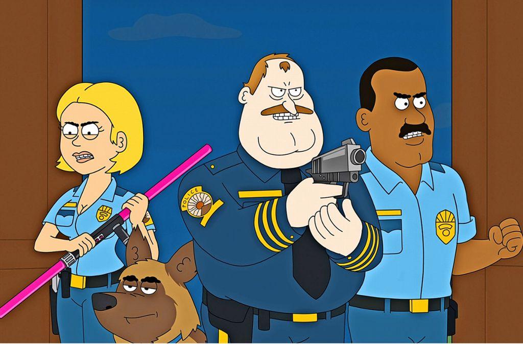 Von dieser Polizei ist nicht viel Hilfe zu erwarten – aber Spaß. Foto: Netflix