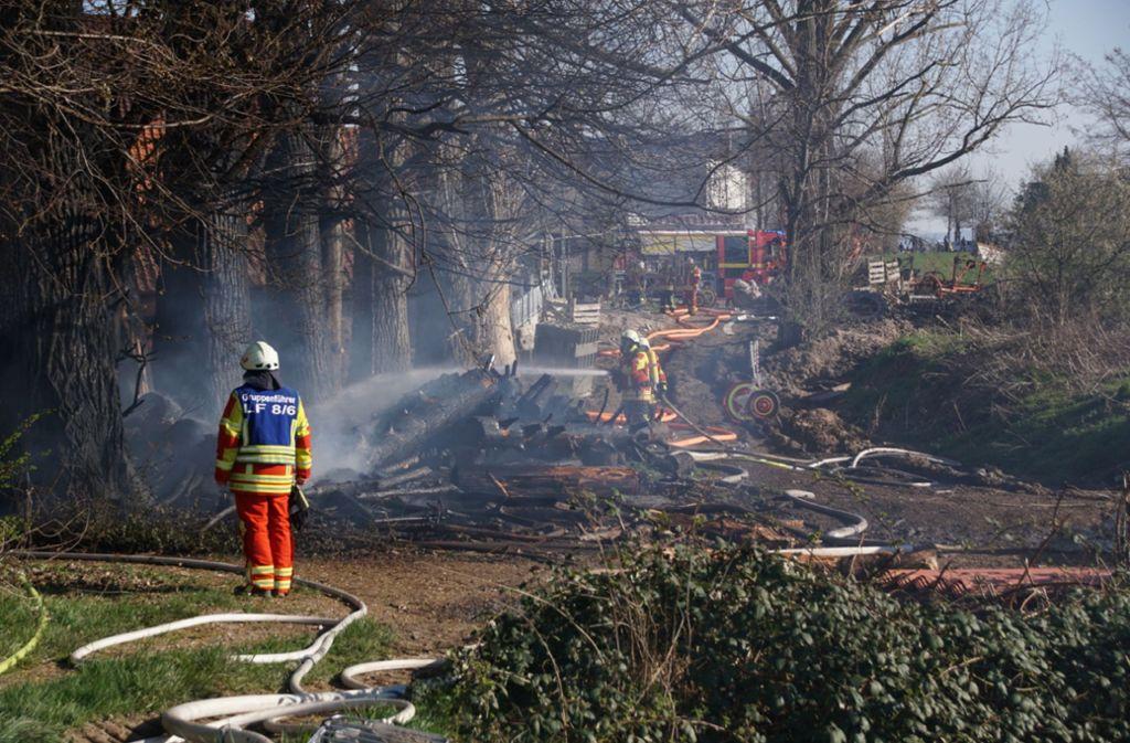 Die Feuerwehr konnte nicht verhindern, dass zwei Bauwagen zum Raub der Flammen wurden. Foto: SDMG// Boehmler