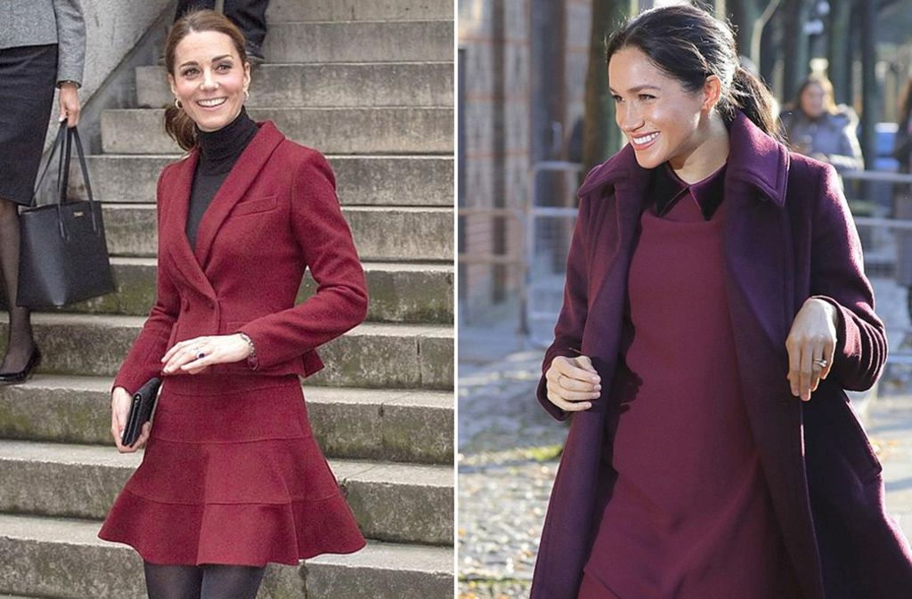 Wem steht Weinrot besser? Herzogin Kate (links) oder Herzogin Meghan? Foto: AP/Getty Images