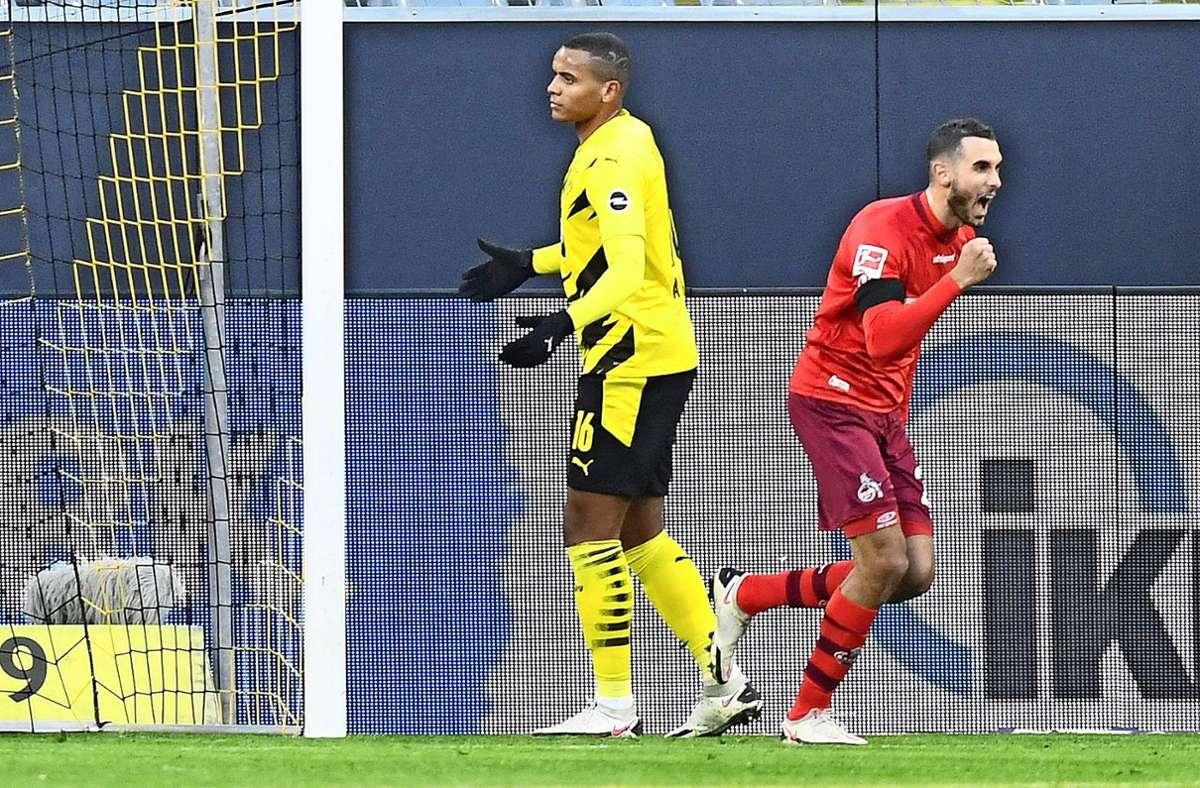 Die Freude des Doppeltorschützen: Ellyes Skhiri (rechts)  bejubelt eines seiner Tore beim BVB Foto: dpa/Martin Meissner