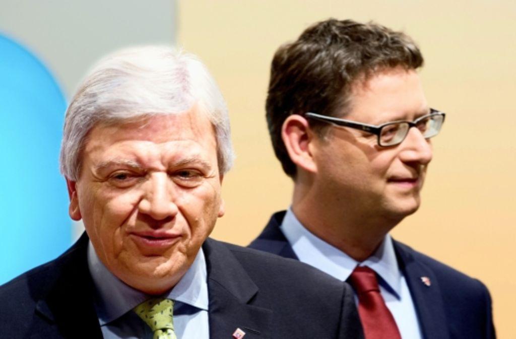 Amtsinhaber Volker Bouffier (links) und SPD-Herausforderer Thorsten Schäfer-Gümbel. Foto: dpa