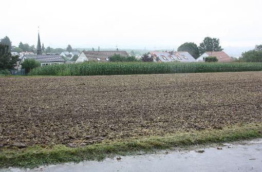 Auf diesen Feldern am Ortsrand von Oberaichen will die Bahn  etwa zwei Jahre lang Erdaushub zwischenlagern. Dort verläuft  allerdings auch eine zentrale Wasserleitung Foto: Natalie Kanter