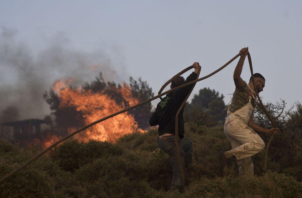 In Griechenland kämpfen die Rettungskräfte gegen die Waldbrände. Foto: dpa