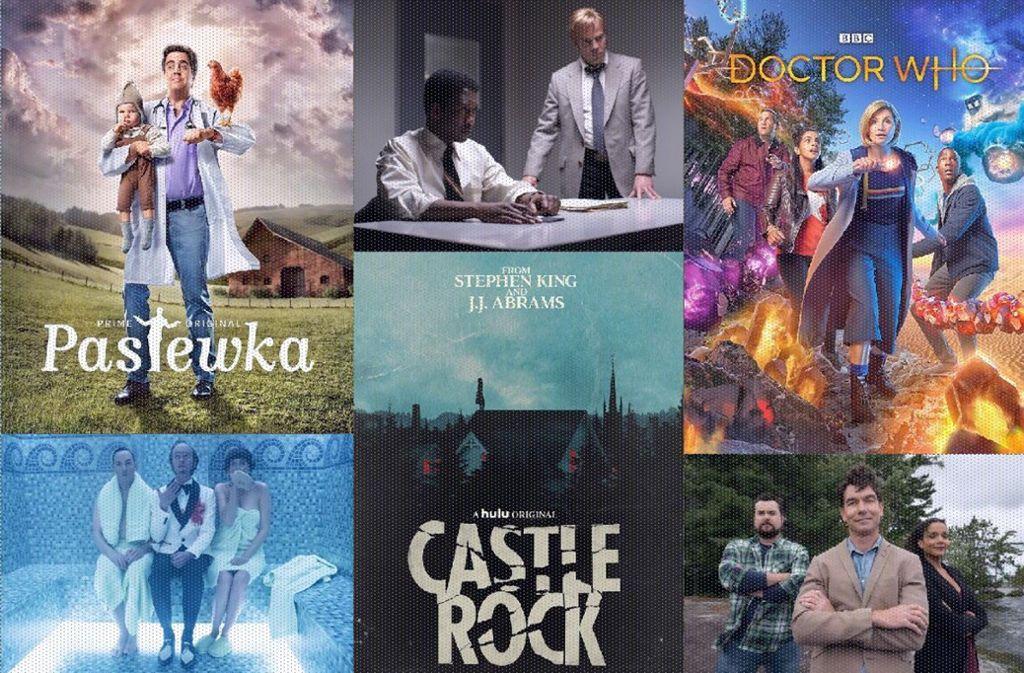 """Das und mehr bringt der Januar: """"Pastewka"""", """"True Detective"""", """"Doctor Who"""", """"Carter"""", """"Castle Rock"""", """"Eine Reihe betrüblicher Ereignisse"""" (von links oben im Uhrzeigersinn) Foto: Amazon, HBO, BBC, Bravo, Hulu, Netflix"""