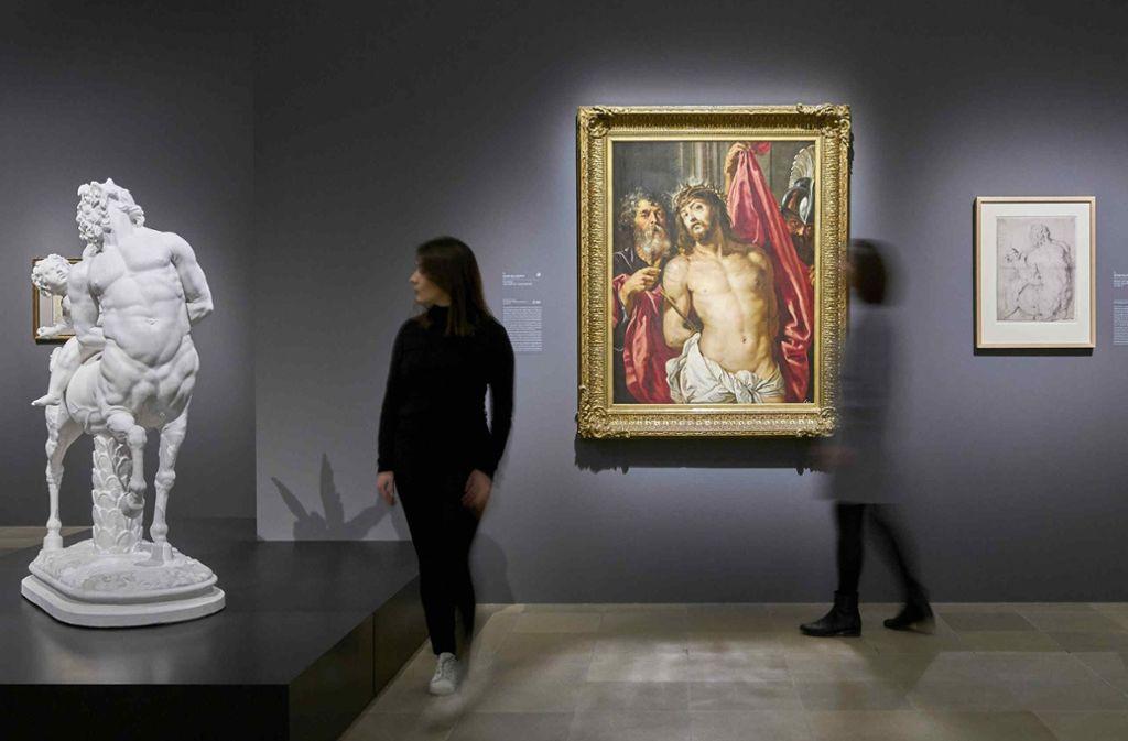 """Römischer Kentaur und Rubens' Gemälde """"Ecce homo"""" (vor 1612) im Städel Foto: Städel-Museum"""