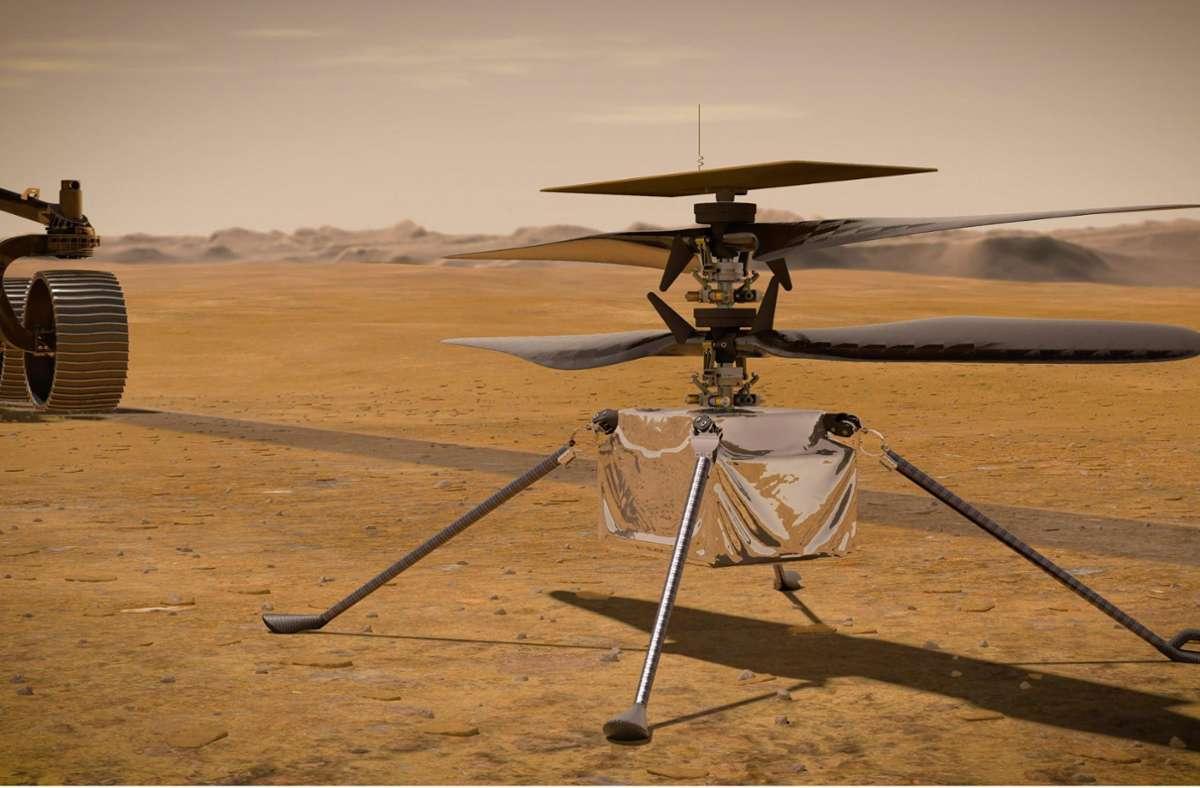 """Die von der NASA zur Verfügung gestellte Illustration zeigt den """"Ingenuity""""-Hubschrauber auf der Marsoberfläche. Foto: Nasa/JPL-Caltech/dpa"""