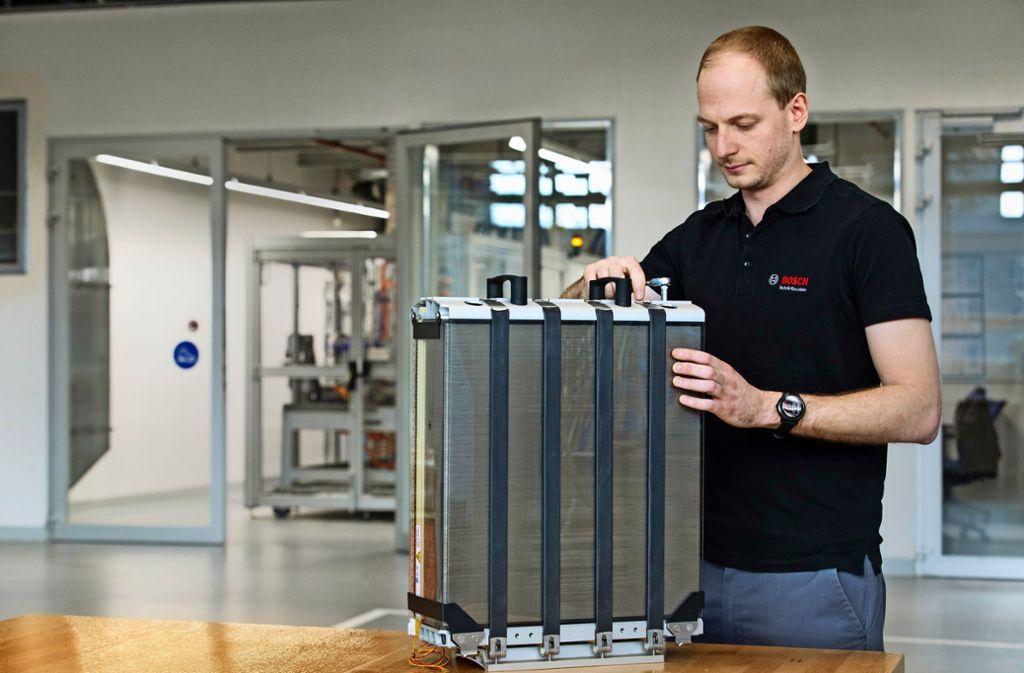 Bosch  setzt auch auf die Brennstoffzelle –  Komponenten dafür könnten künftig auch an den Dieselstandorten gefertigt werden. Foto: Bosch