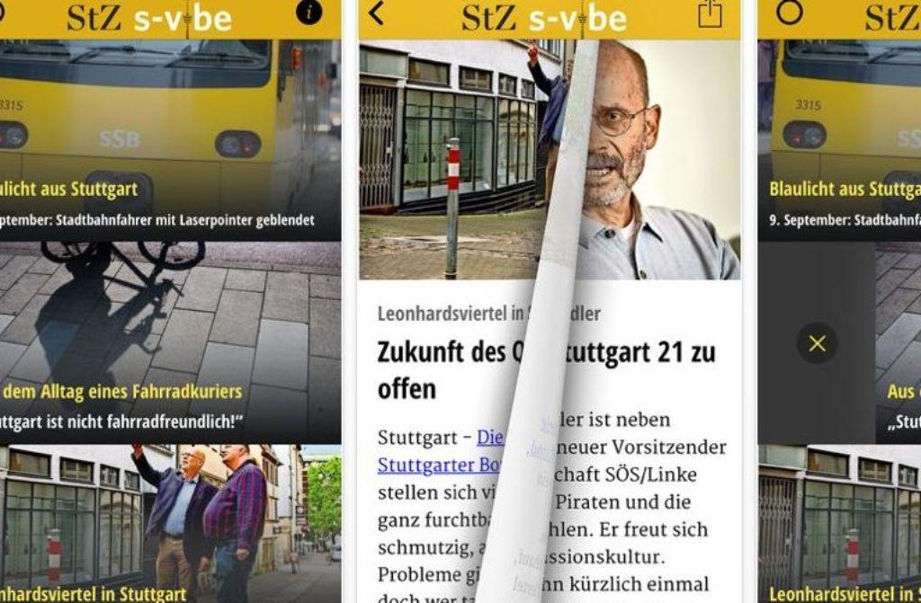 Mit schnellen Wischbewegungen entscheidet der Nutzer, welche Artikel er auf s-vibe lesen will. Foto: Screenshot itunes.apple.com