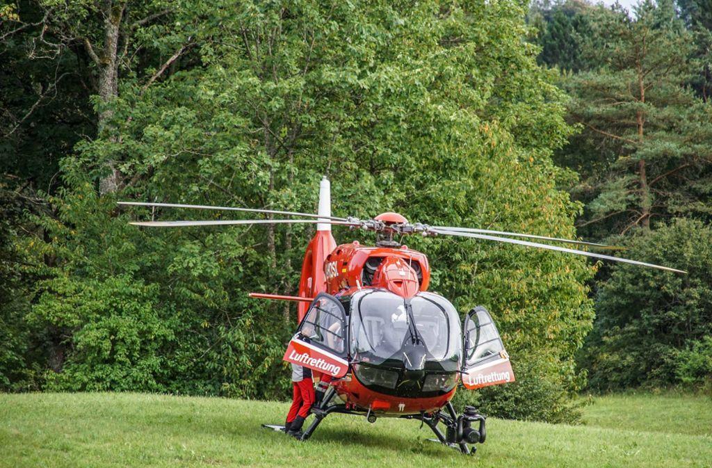 ... mit dem Rettungshubschrauber in eine Klinik eingeliefert. Foto: SDMG