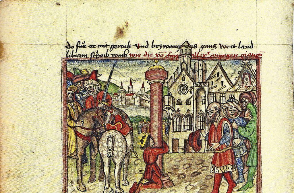 """Früher Heldenroman: """"Alexander"""", Handschrift von Johannes Hartlieb aus dem Jahr 1455. Foto: Bayerische Staatsbibliothek München"""